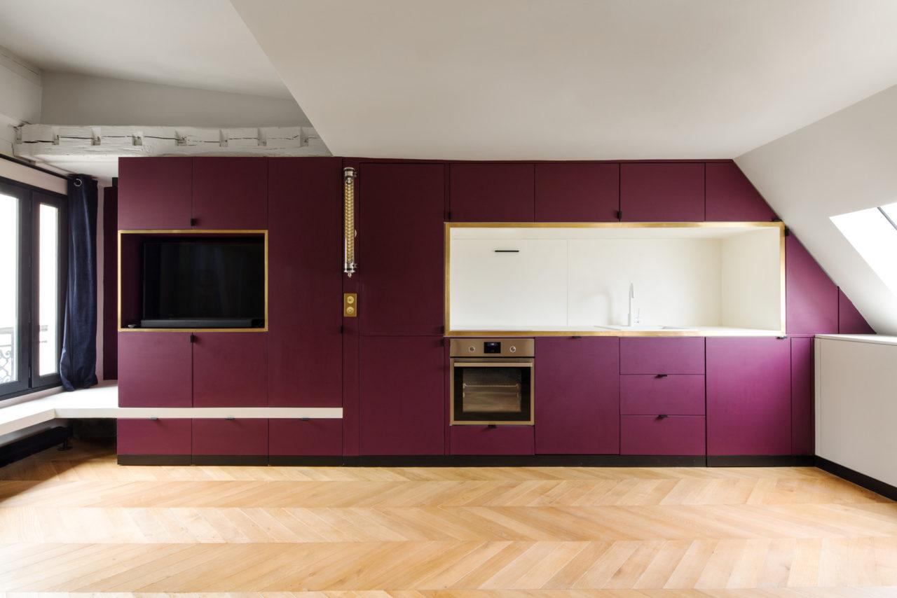 ban architecture renovation appartement paris interieur haussmannien combles comble or laiton grands boulevards 1
