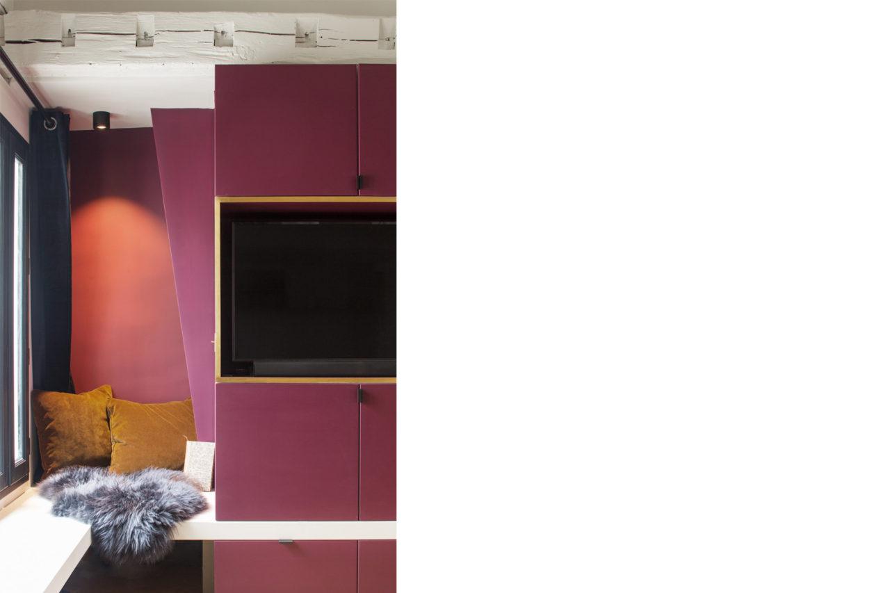 ban architecture renovation appartement paris interieur haussmannien combles comble or laiton grands boulevards 55