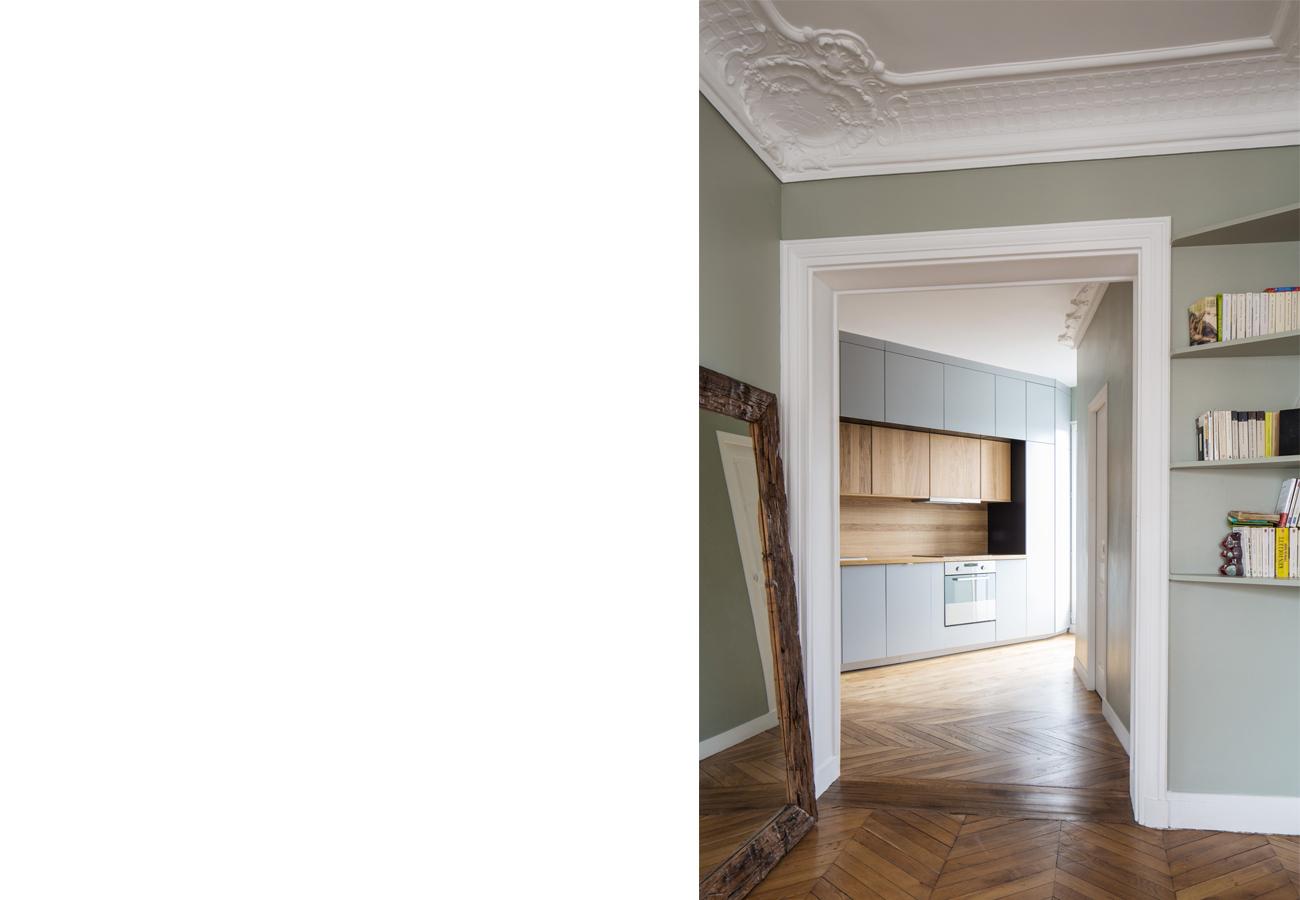 ban architecture renovation appartement paris interieur haussmannien gris vert belleville jaures 11