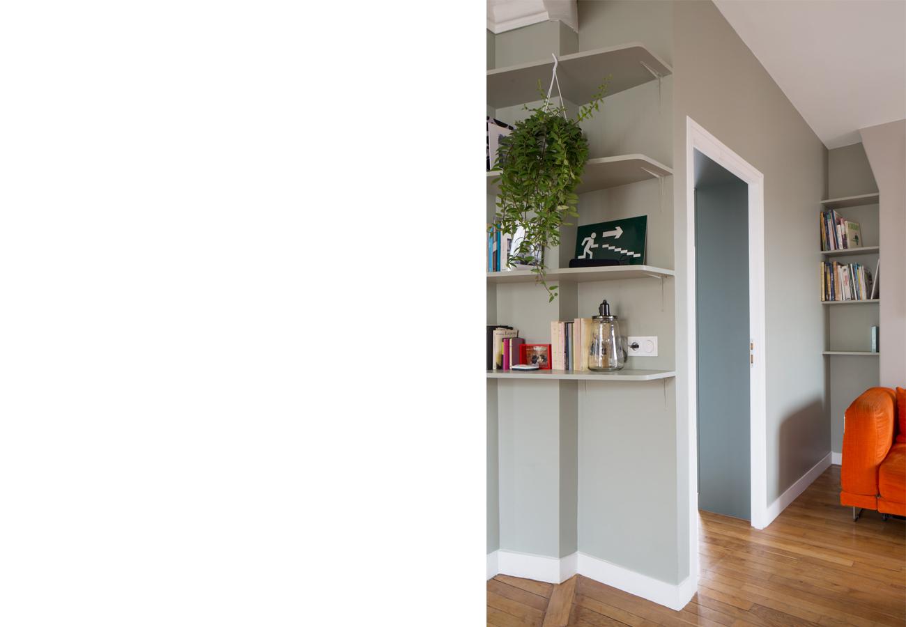 ban architecture renovation appartement paris interieur haussmannien gris vert belleville jaures 33