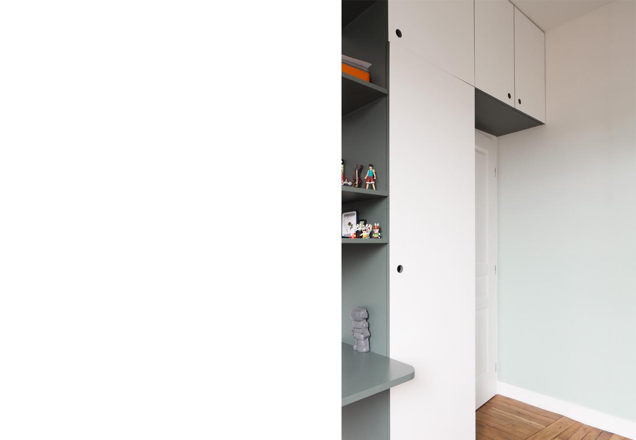 ban architecture renovation appartement paris interieur haussmannien gris vert belleville jaures 55